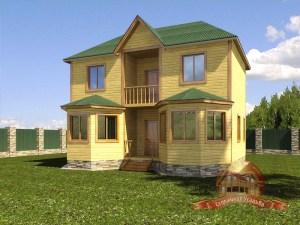 Двухэтажный дом-замок из бруса, проект коттеджа 7х9