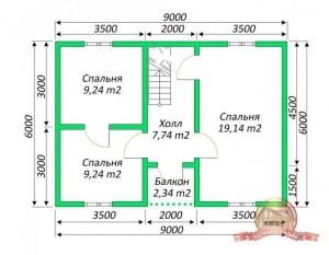 План 2 этажа проекта коттеджа 7х9 с двумя эркерами