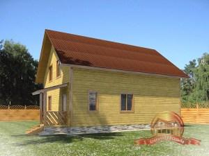 Брусовой дом 8х10 с двускатной крышей