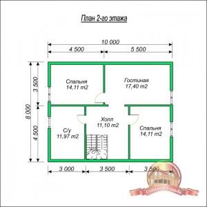 Планировка внутреннего пространства дома из профилированного бруса 8х10 с котельной