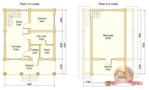 Планированние внутреннего пространства деревянного дома из ОЦБ 7 на 9