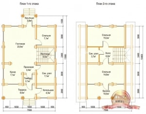 Планировка внутреннего пространства первого и второго этажей деревянного дома