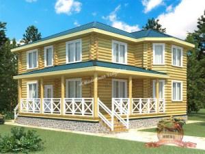 Большой двухэтажный дом из оцилиндрованного бревна 12х12 с террасой
