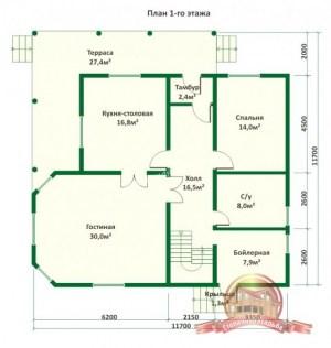 План 1 этажа проекта большого деревянного дома из ОЦБ с эркером