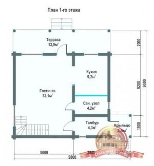 Планировка внутреннего пространства дома из ОЦБ 8.8 на 9