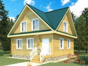 Дом из оцилиндрованного бревна 8х8 с верандой