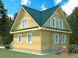 Проект деревянного дома из бревна с верандой
