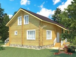 Проект деревянного дома из ОЦБ 8 на 12 с тремя спальнями