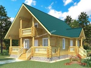 Проект дома из оцилиндрованного бревна 8х11 с двумя входами