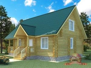 Проект деревянного дома из ОЦБ с двумя входами
