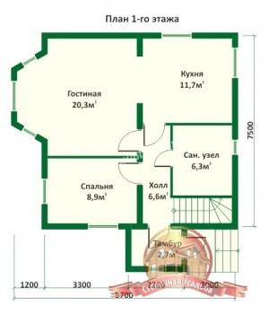 Планировка 1 этажа проекта дома из оцилиндрованного бревна 8.7х7.5 с эркером