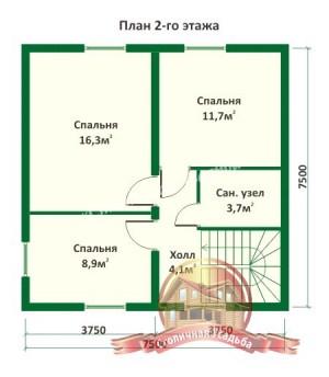 Планировка 2 этажа проекта дома из оцилиндрованного бревна 8.7х7.5 с эркером