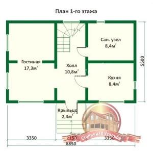 План 1 этажа дома из оцилиндрованного бревна 5.5х8.8 с ломаной крышей