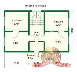 План 2 этажа дома из оцилиндрованного бревна 5.5х8.8 с ломаной крышей