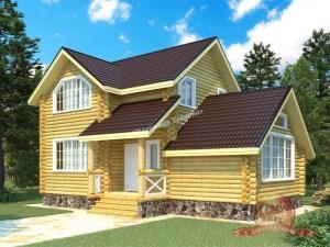 Проект дома из оцилиндрованного бревна 6.8х10.6 метров