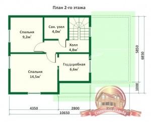 План 2 этажа проекта дома из бревна оцилиндрованного 6.8х10.6