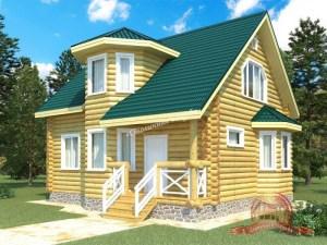 Дом из оцилиндрованного бревна 8х8.8 с башенкой