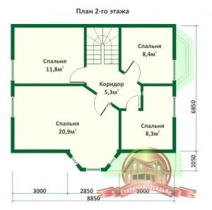 План 2 этажа дома из оцилиндрованного бревна 8х8.8 с башенкой