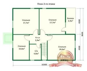 План 2 этажа проекта дома из ОЦБ 8х10 с крыльцом и ломаной крышей