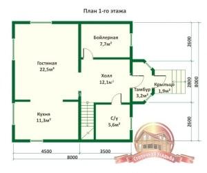 Планировка внутреннего пространства дома из оцилиндрованного бревна 8х8 в полтора этажа