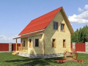 Двухэтажный сруб дома из бруса 7х8