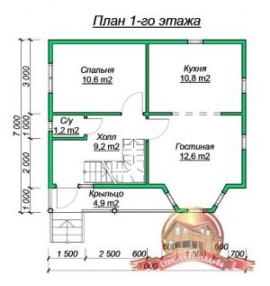 Планировка внутреннего пространства дома из бруса 7х8 под усадку