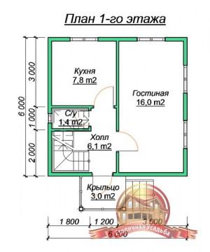 План1 этажа проекта деревянного дома 6 на 6