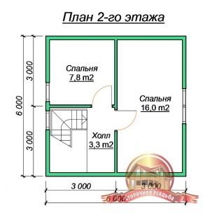 План 2 этажа проекта деревянного дома 6 на 6