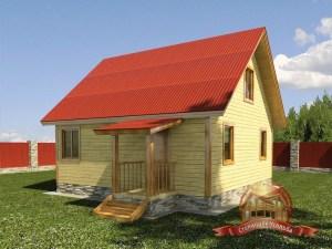 Дом из бруса 7 на 7 с небольшим крыльцом при входе