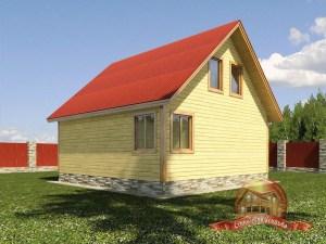Вид на фасад деревянного дома 7 на 7