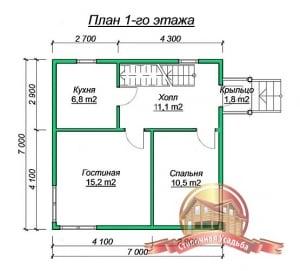 План 1 этажа дома из бруса 7х7под усадку