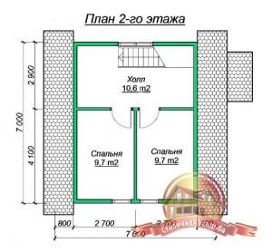 План 2 этажа дома из бруса 7х7под усадку