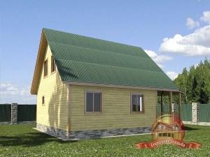 Проект одноэтажного дома из бруса с удачной планировкой 8 на 8