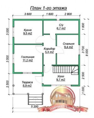 Планировка нижнего этажа дома из бруса 8х8