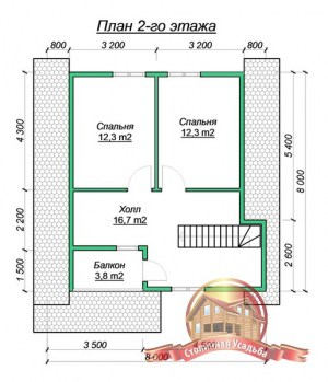 Планировка верхнего этажа дома из бруса 8х8