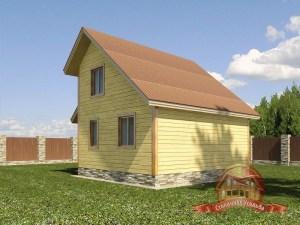 Дом из бруса 5 на 6 с большой открытой террасой