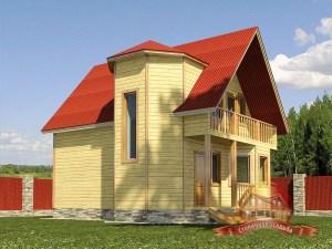 На первом плане эркер деревянного дома в 2 этажа
