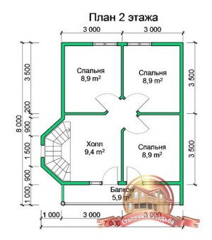 План 2 этажа дома из бруса 7х8 с эркером