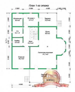 План 1 этажа дома из бруса, проект дома с эркером 10х12.5