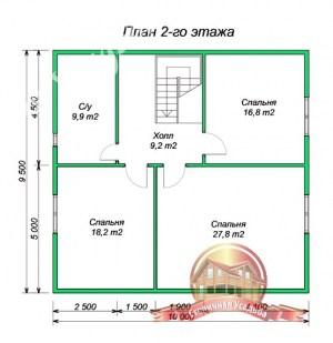 План 2 этажа дома из бруса, проект дома с эркером 10х12.5