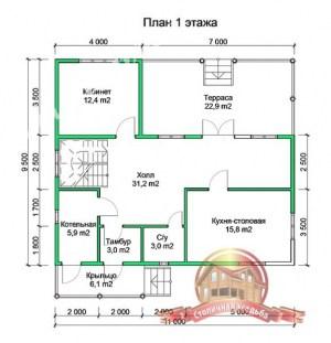 План 1 этажа проекта сруба из бруса 9.5х11 с котельной