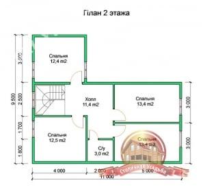 План 2 этажа проекта сруба из бруса 9.5х11 с котельной