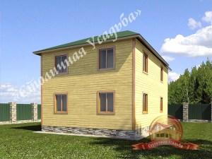 Вид на фасад дома из бруса для большой семьи