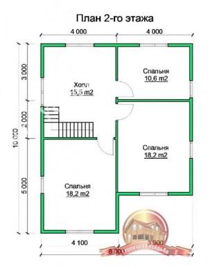 Планировка 1 этажа проекта сруба из бруса 10 на 11 с верандой