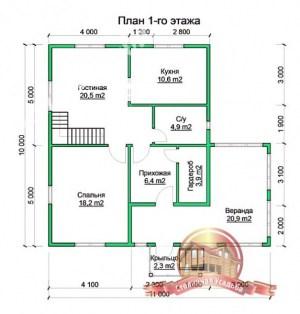 Планировка 2 этажа проекта сруба из бруса 10 на 11 с верандой