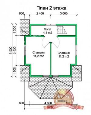 План 2 этажа проекта брусового дома 6х8
