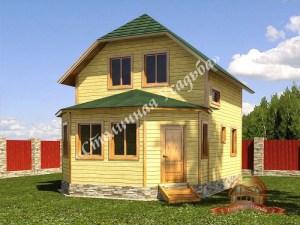 Брусовой дом 7х10 с верандой, проект НБ-23