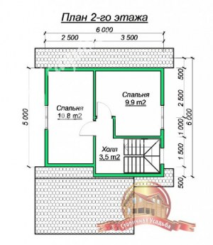 План 2 этажа проекта небольшого дома из бруса 6х6