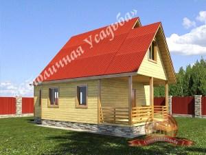 Сруб дома из бруса 6х6 с ломаной крышей