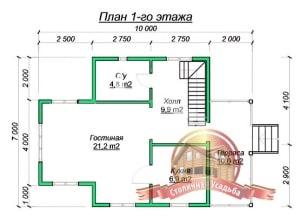 План нижнего этажа проекта дома из бруса 6х6